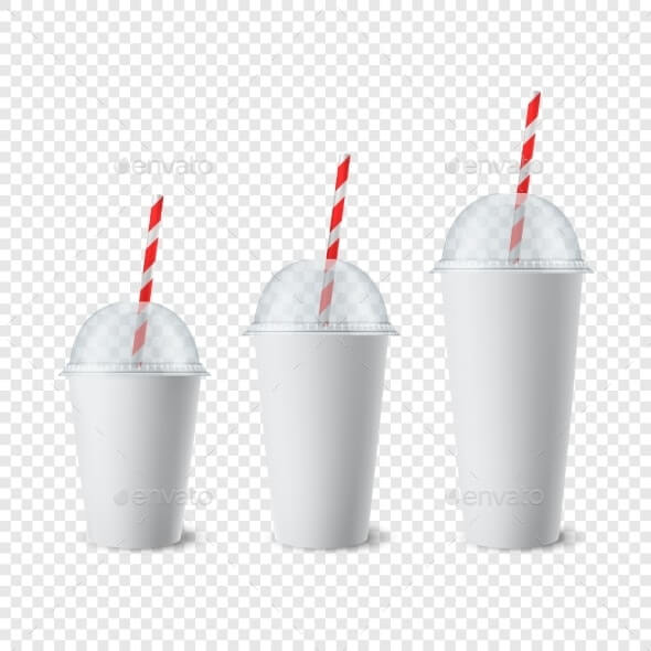 Vector 3d Realistic White Paper Disposable Cup Set