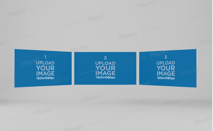 Website Screen Mockup Featuring Three Screens Floating in a Semicircle