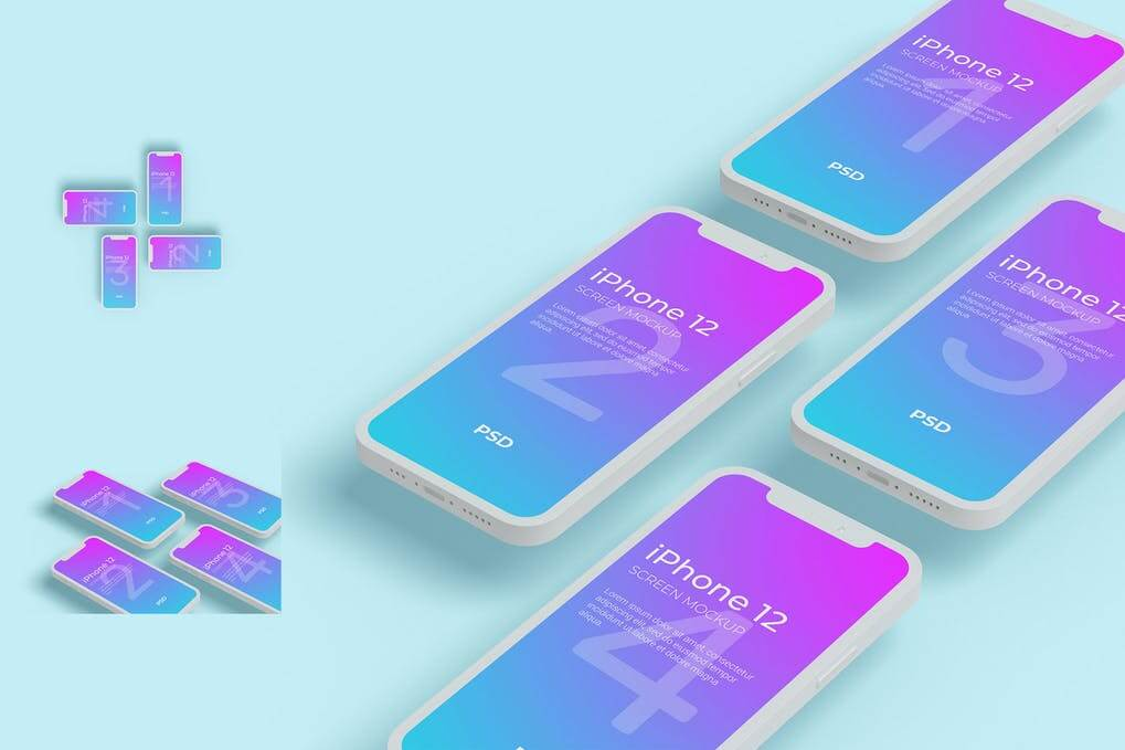 iPhone 12 Screen Mockup Clay Style