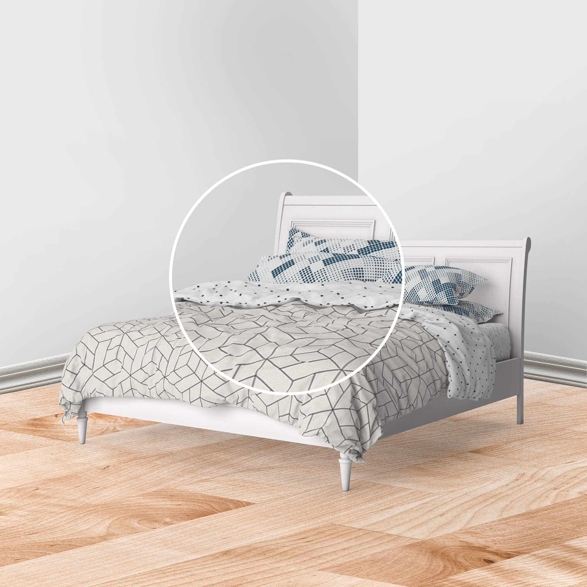 Close Up Of a Free Bed Linen Mockup PSD Template