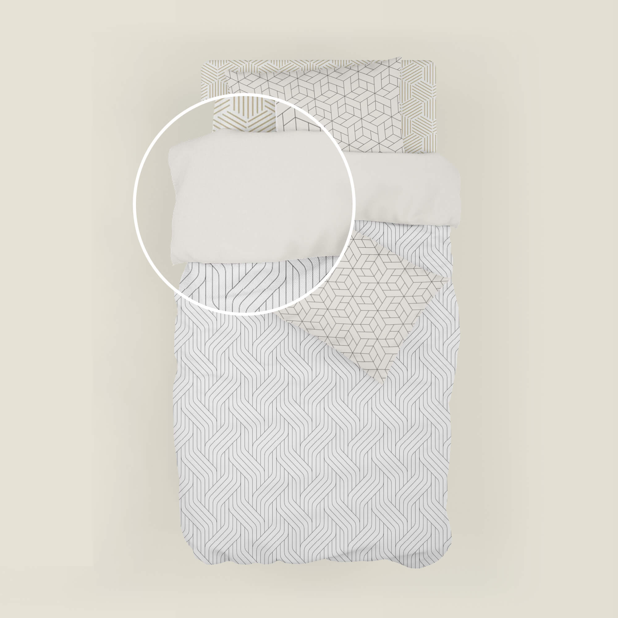 Close Up Of a Free Bedding Mockup PSD Template