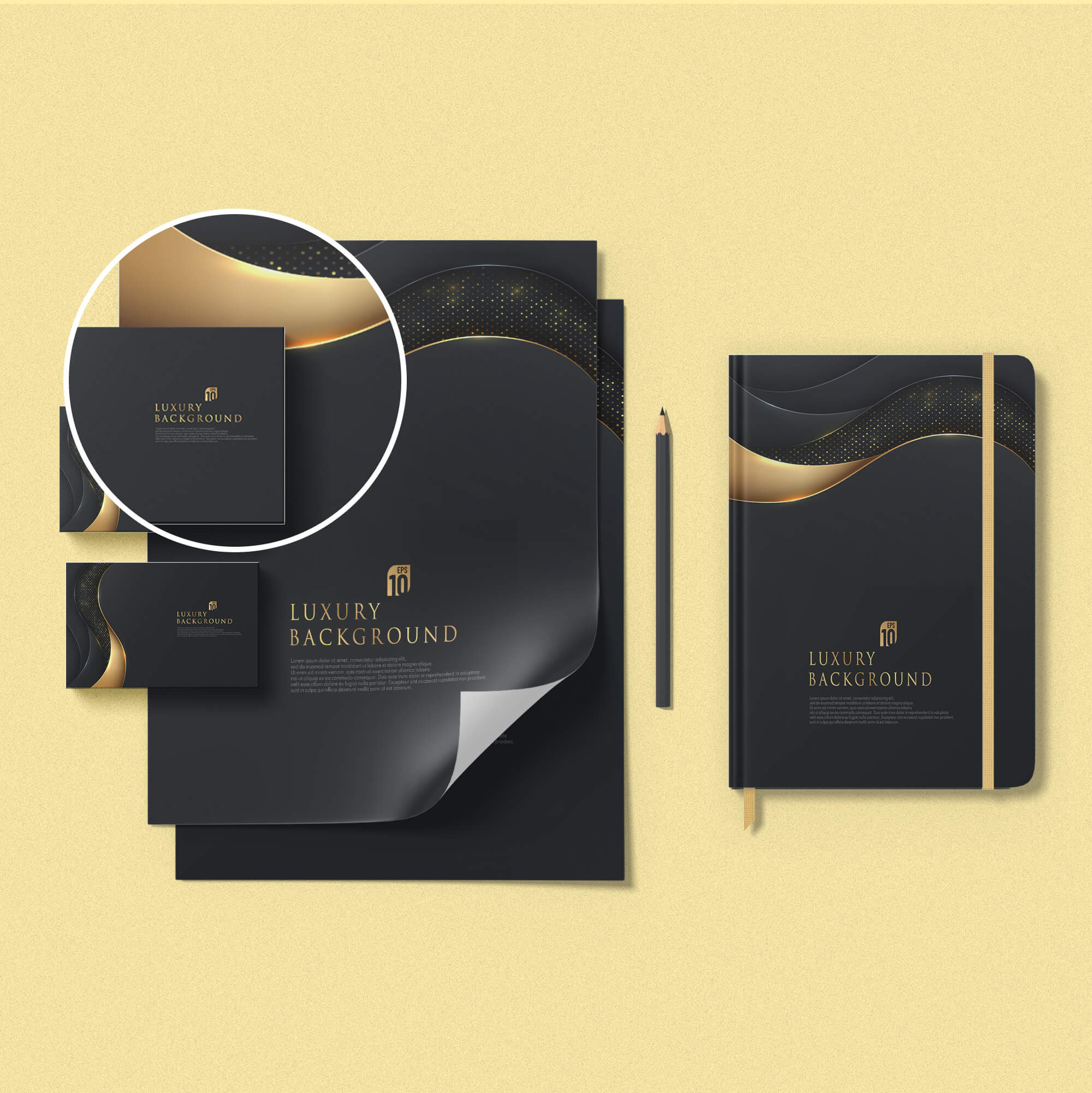 Close Up Of a Free Black Gold stationery Mockup PSD Template