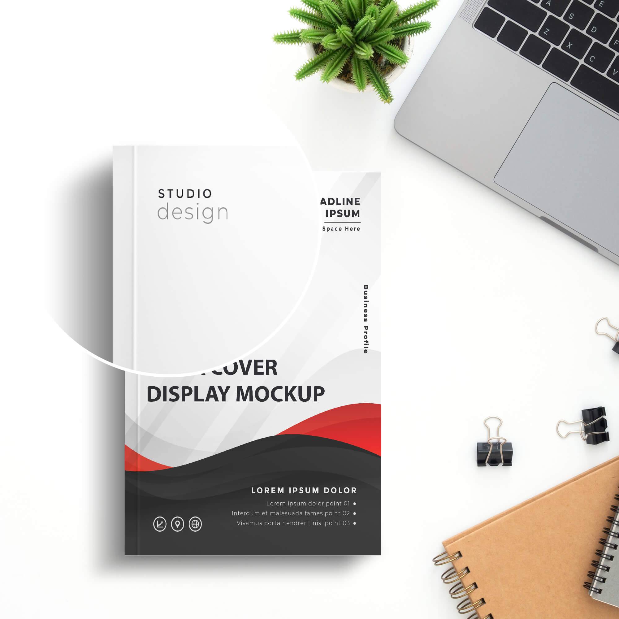 Close Up Of a Free Book Cover Display Mockup PSD Template