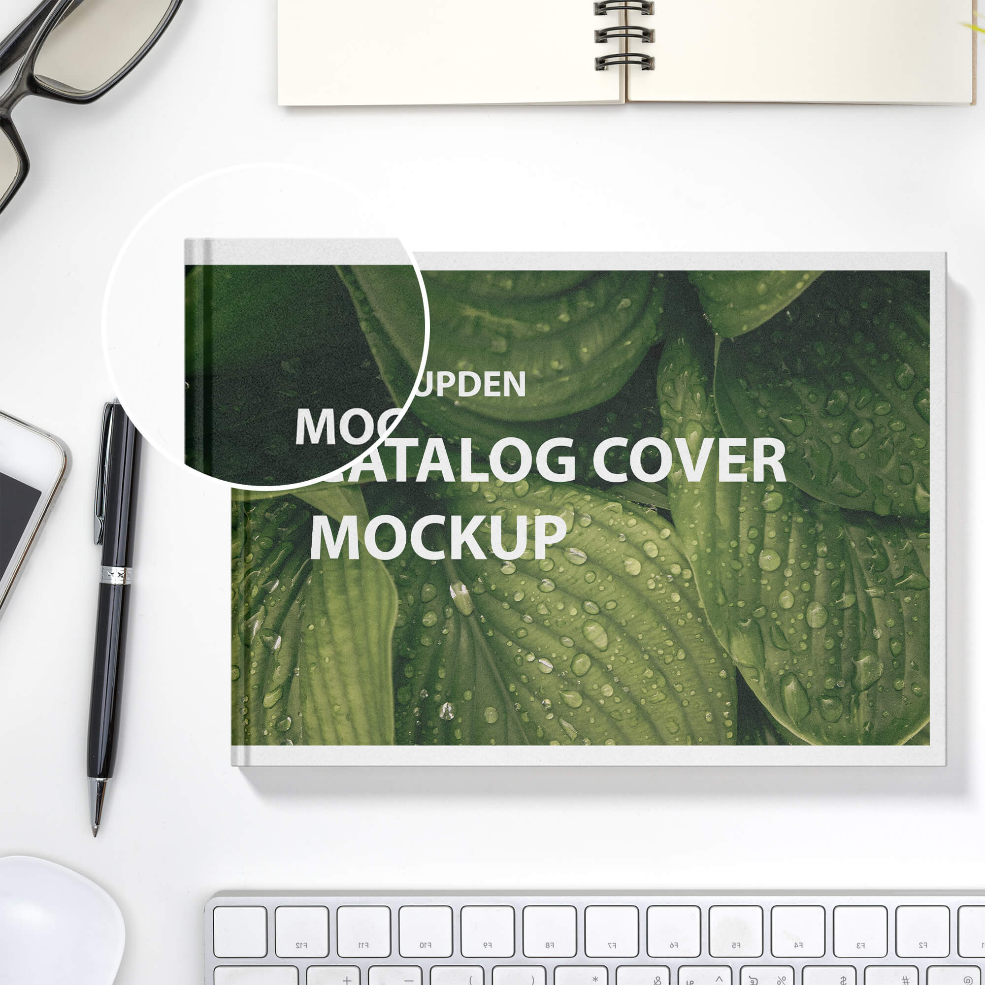 Close Up Of a Free Catalog Cover Mockup PSD Template