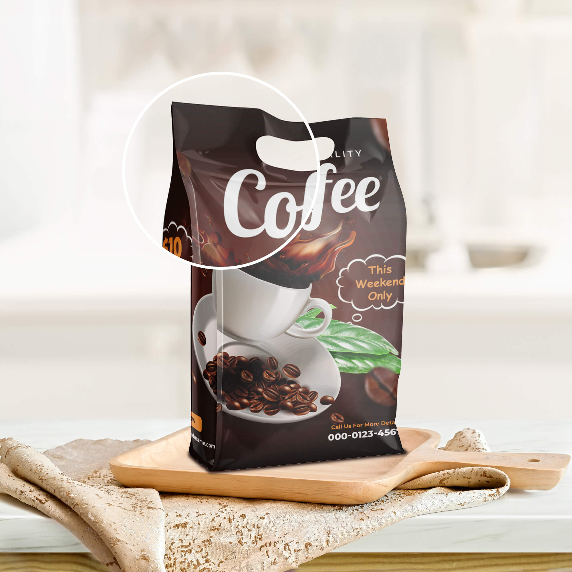 Close Up Of a Free Coffee Packaging Mockup PSD Template (2)