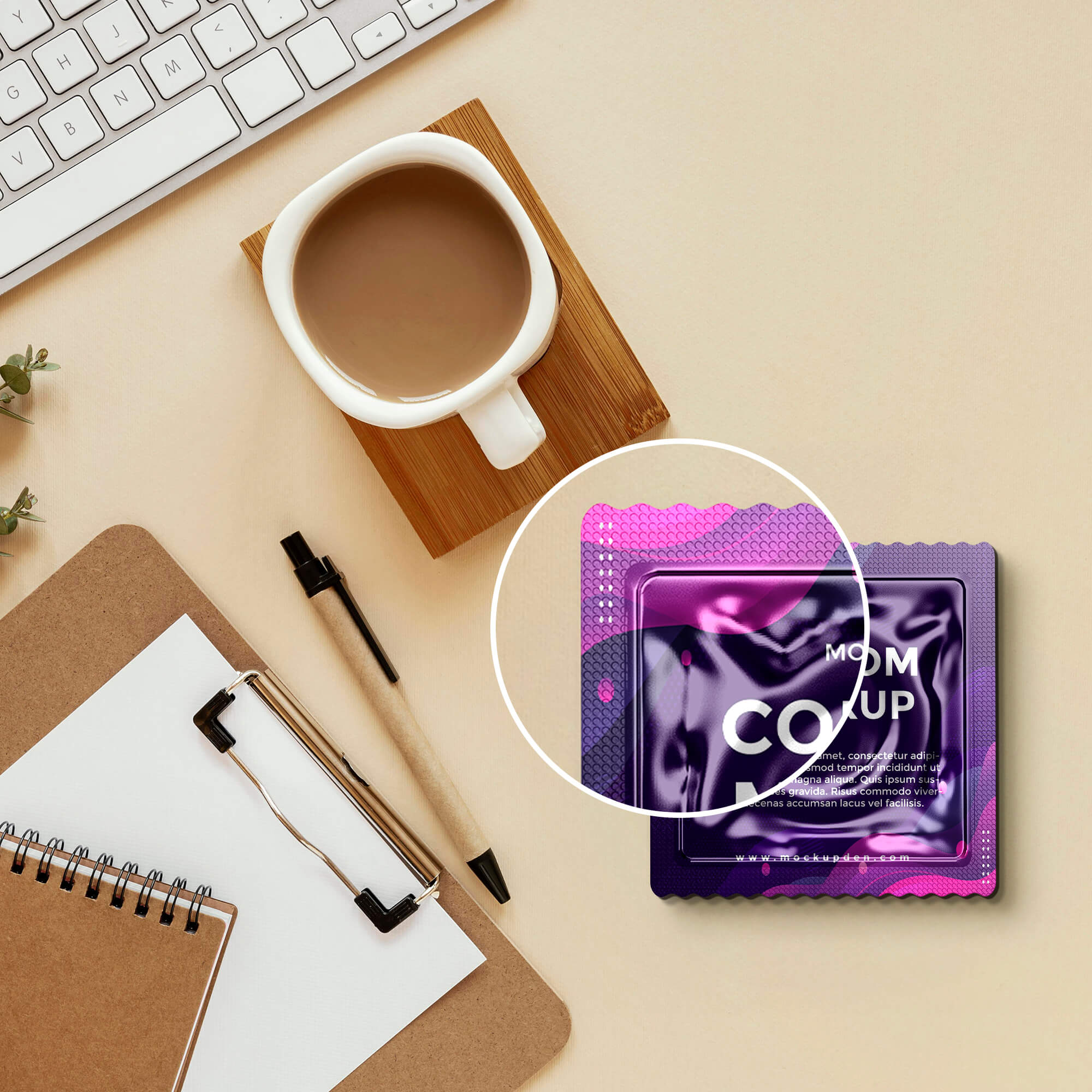 Close Up Of a Free Condom Mockup PSD Template
