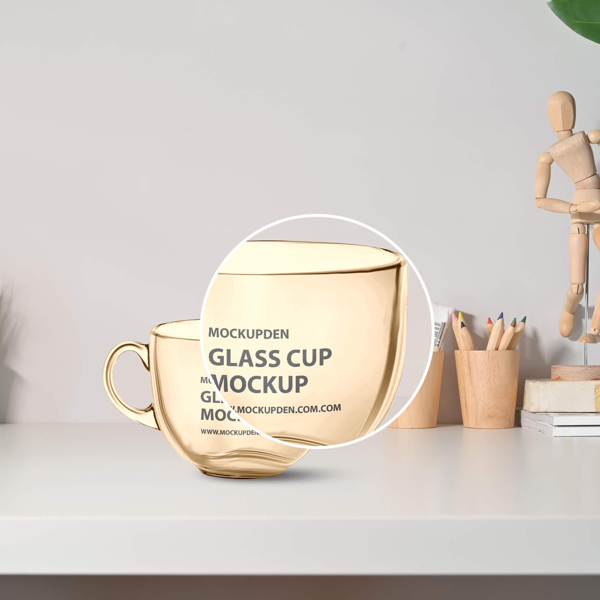Close Up Of a Free Glass Cup Mockup PSD Template