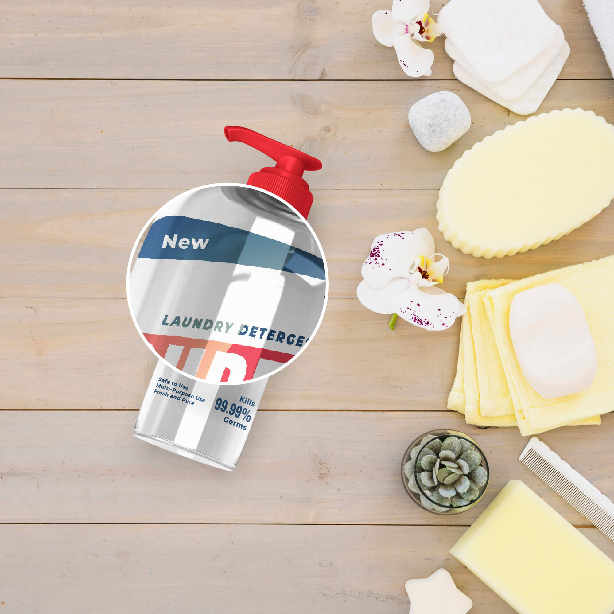 Close Up Of a Free Hand Sanitizer Bottle Mockup PSD Template (1)