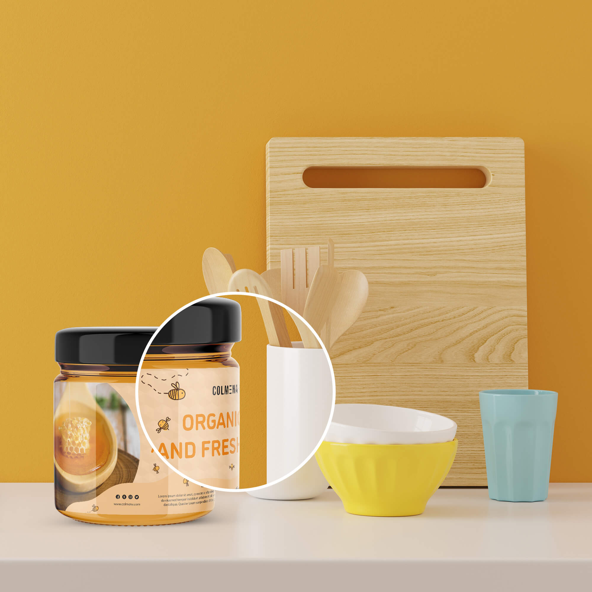Close Up Of a Free Honey Packaging Mockup PSD Template