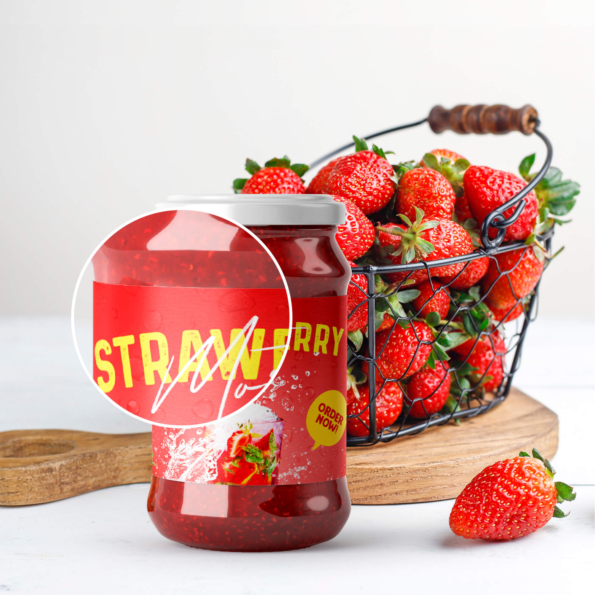 Close Up Of a Free Jam Bottle Mockup PSD Template
