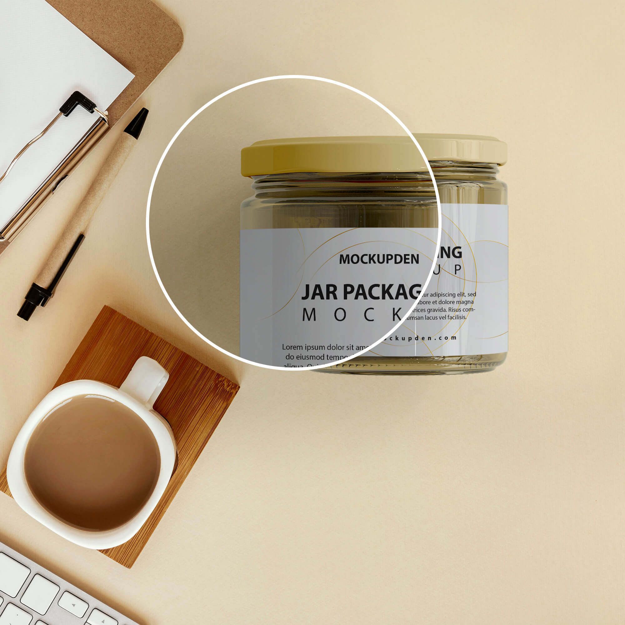 Close Up Of a Free Jar Packaging Mockup PSD Template