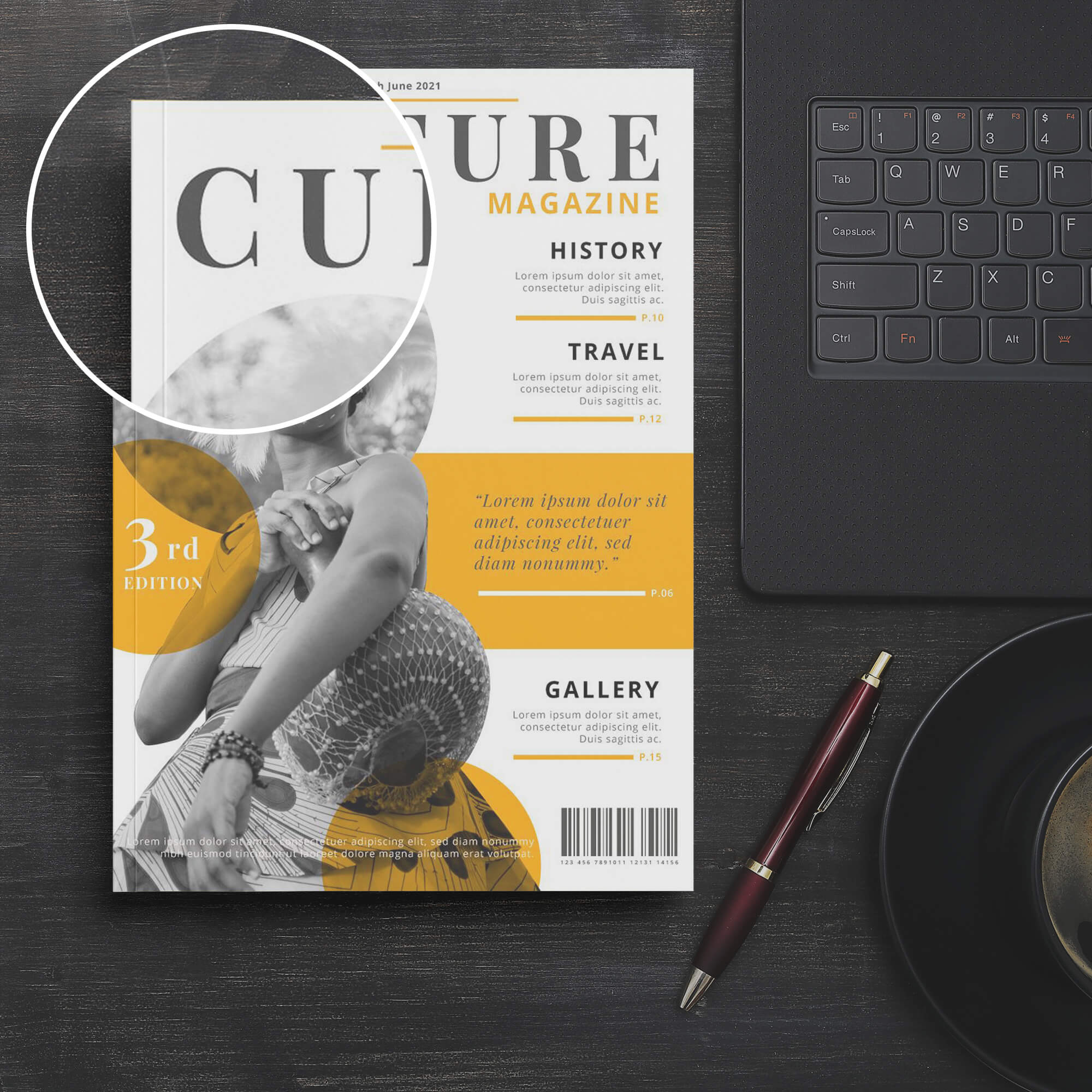 Close Up Of a Free Magazine Cover Mockup PSD Template