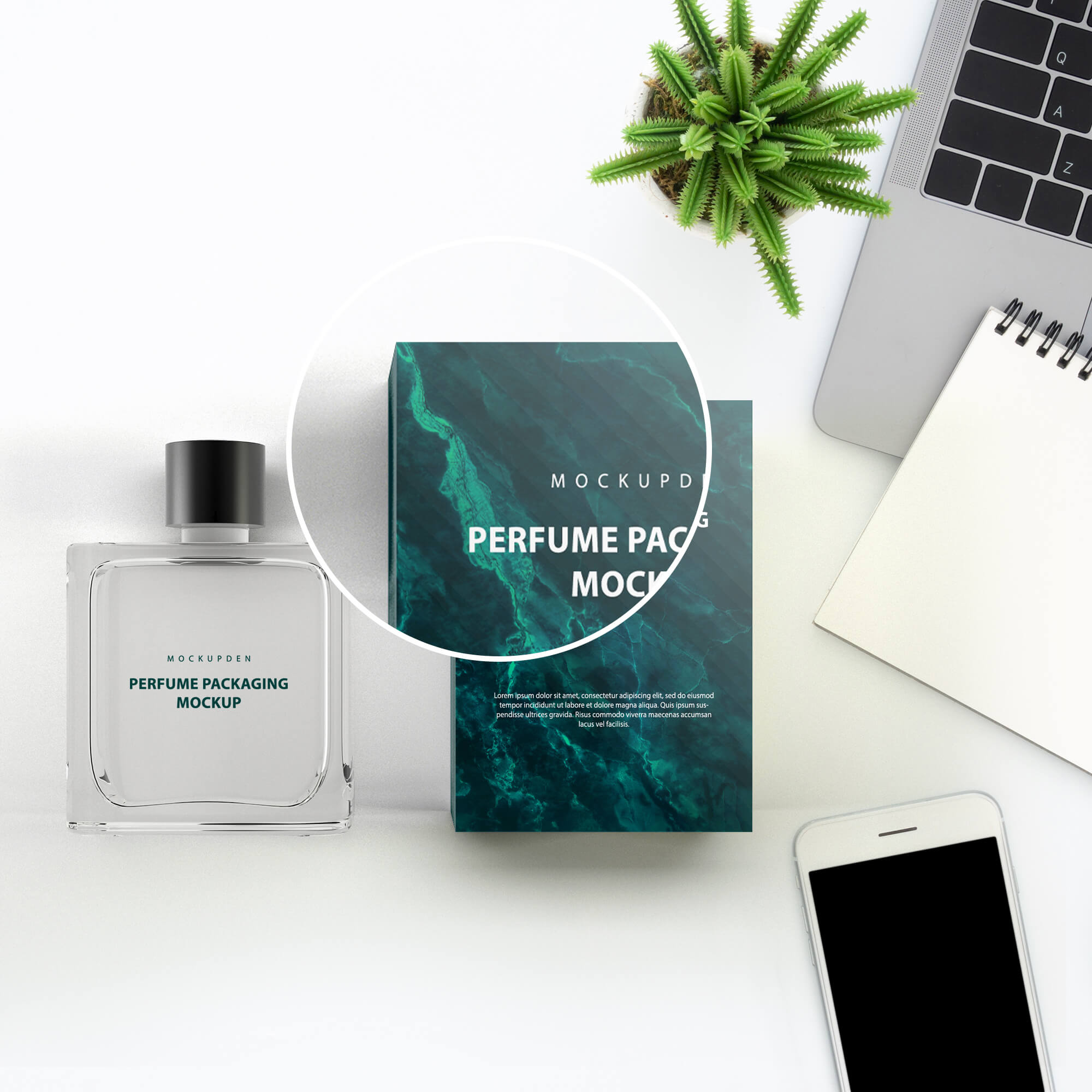 Close Up Of a Free Perfume Packaging Mockup PSD Template