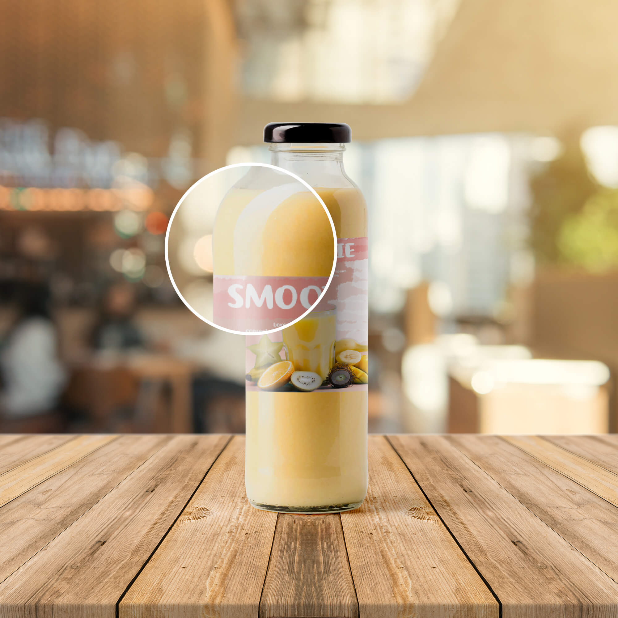 Close Up Of a Free Smoothie Bottle Mockup PSD Template