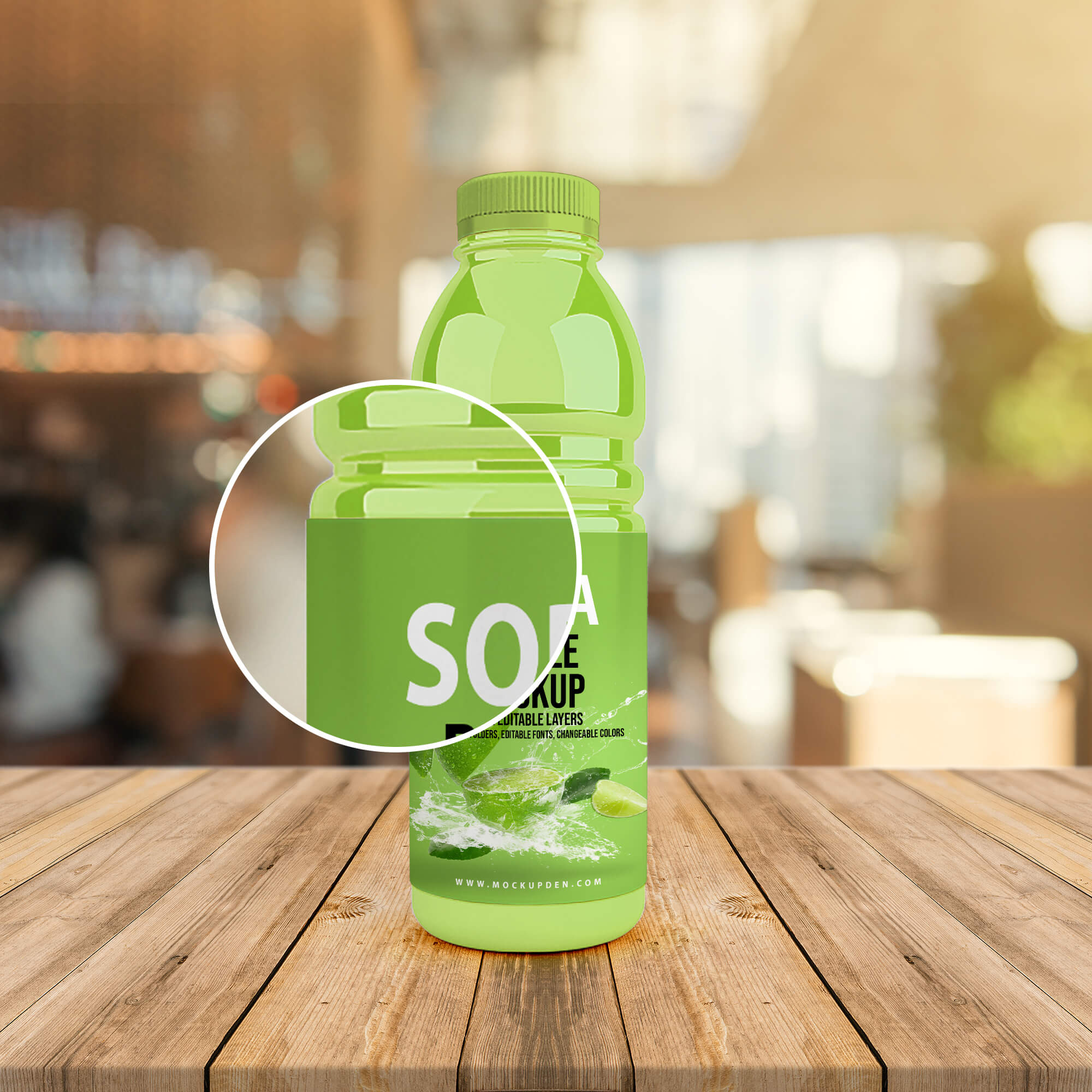 Close Up Of a Free Soda Bottle Mockup PSD Template (2)