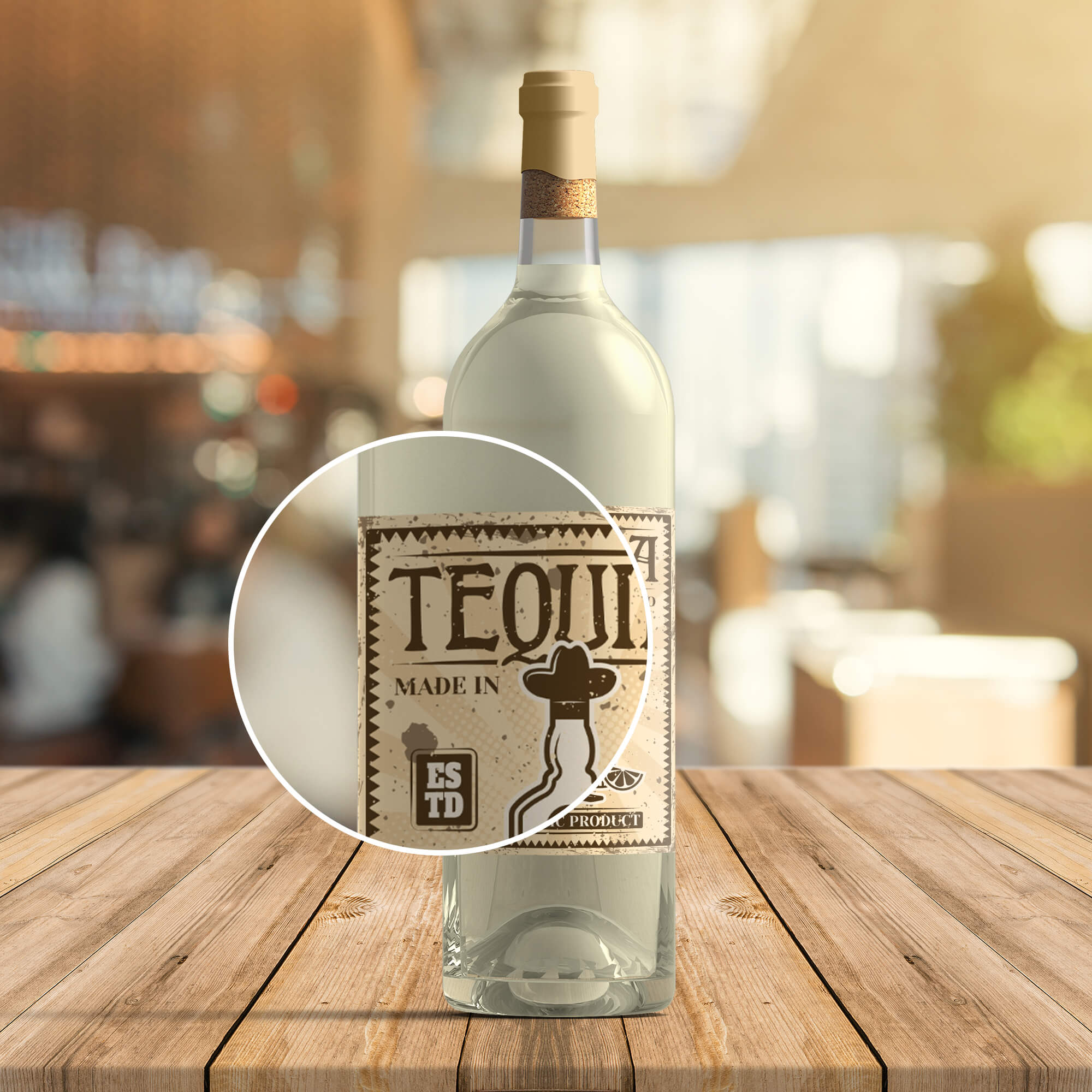 Close Up Of a Free Tequila Bottle Mockup PSD Template (2)