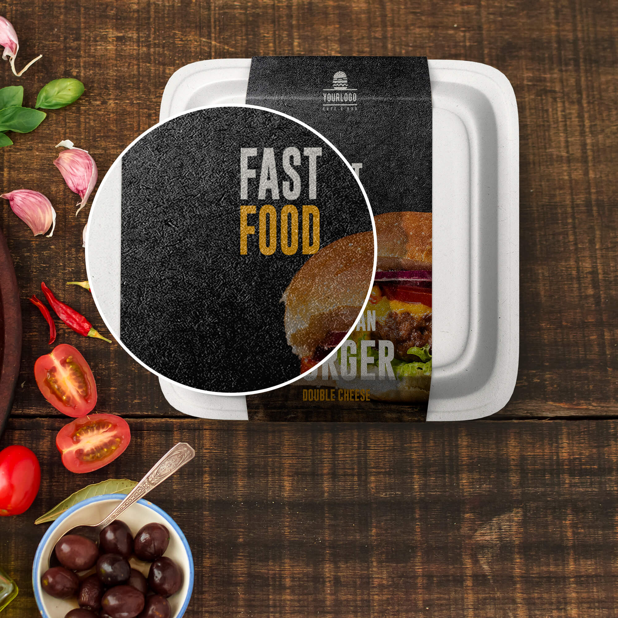 Close Up of a Free Fast Food Packaging Mockup PSD Template