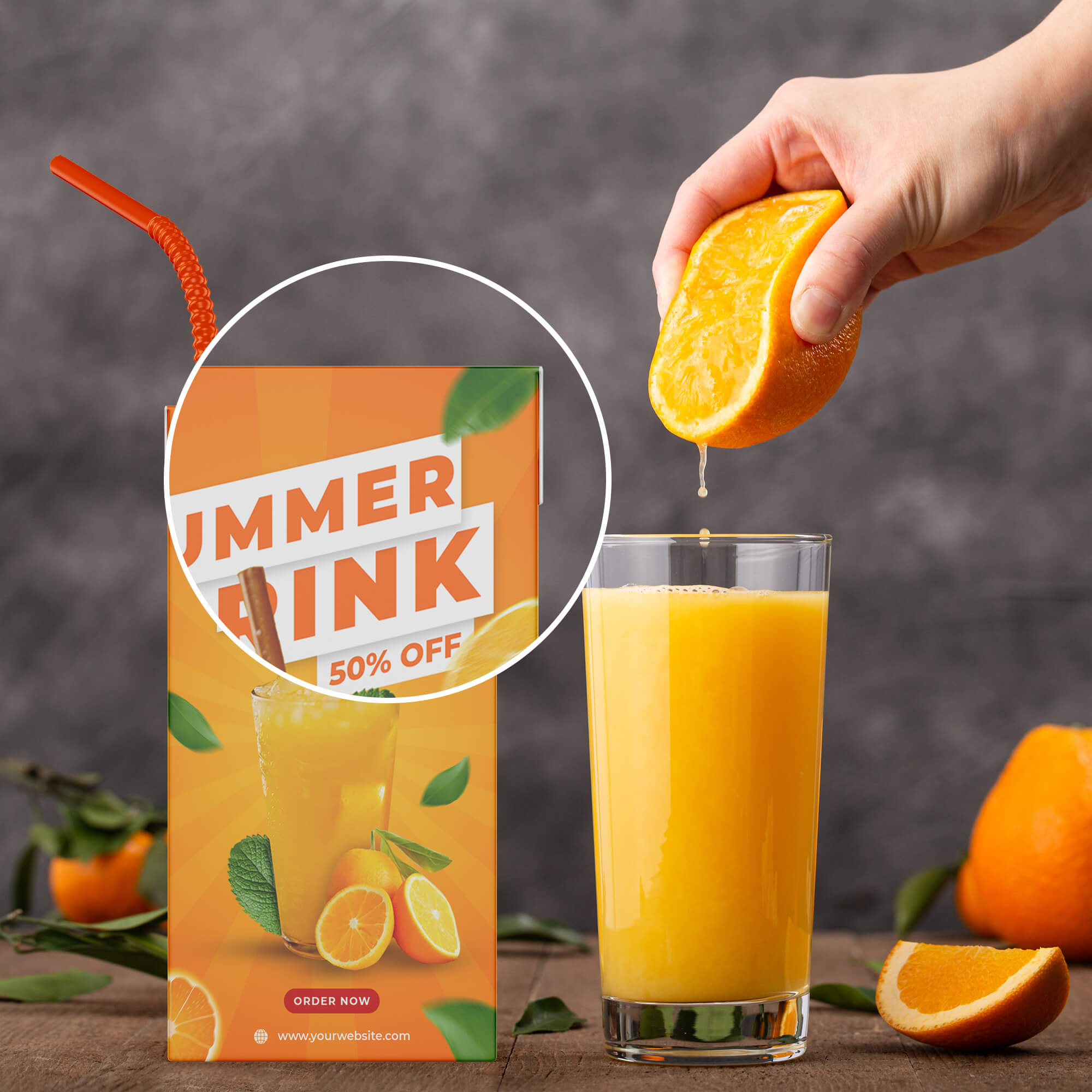 Close Up of a Free Juice Packaging Mockup PSD Template