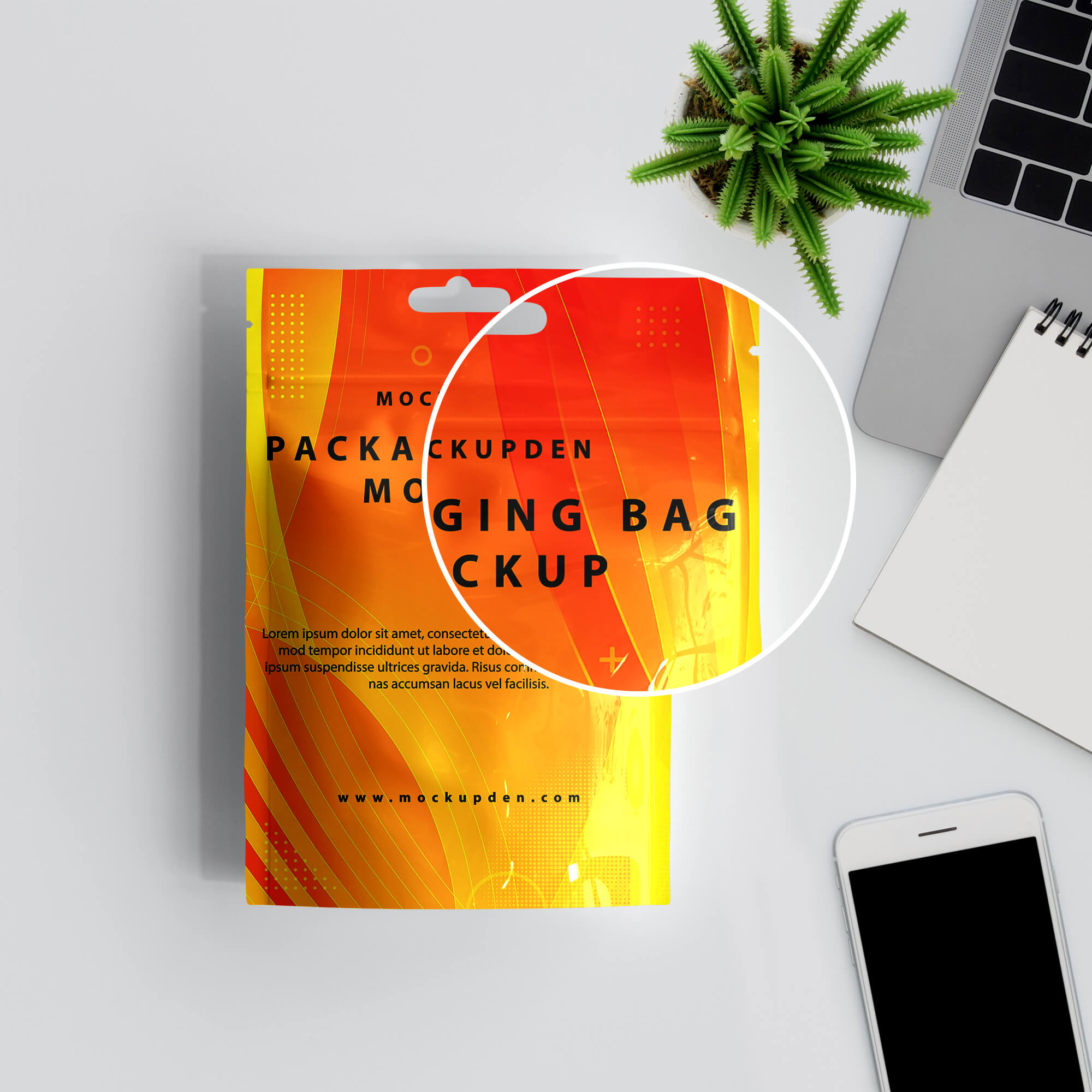 Close Up of a Free Packaging Bag Mockup PSD Template (2)