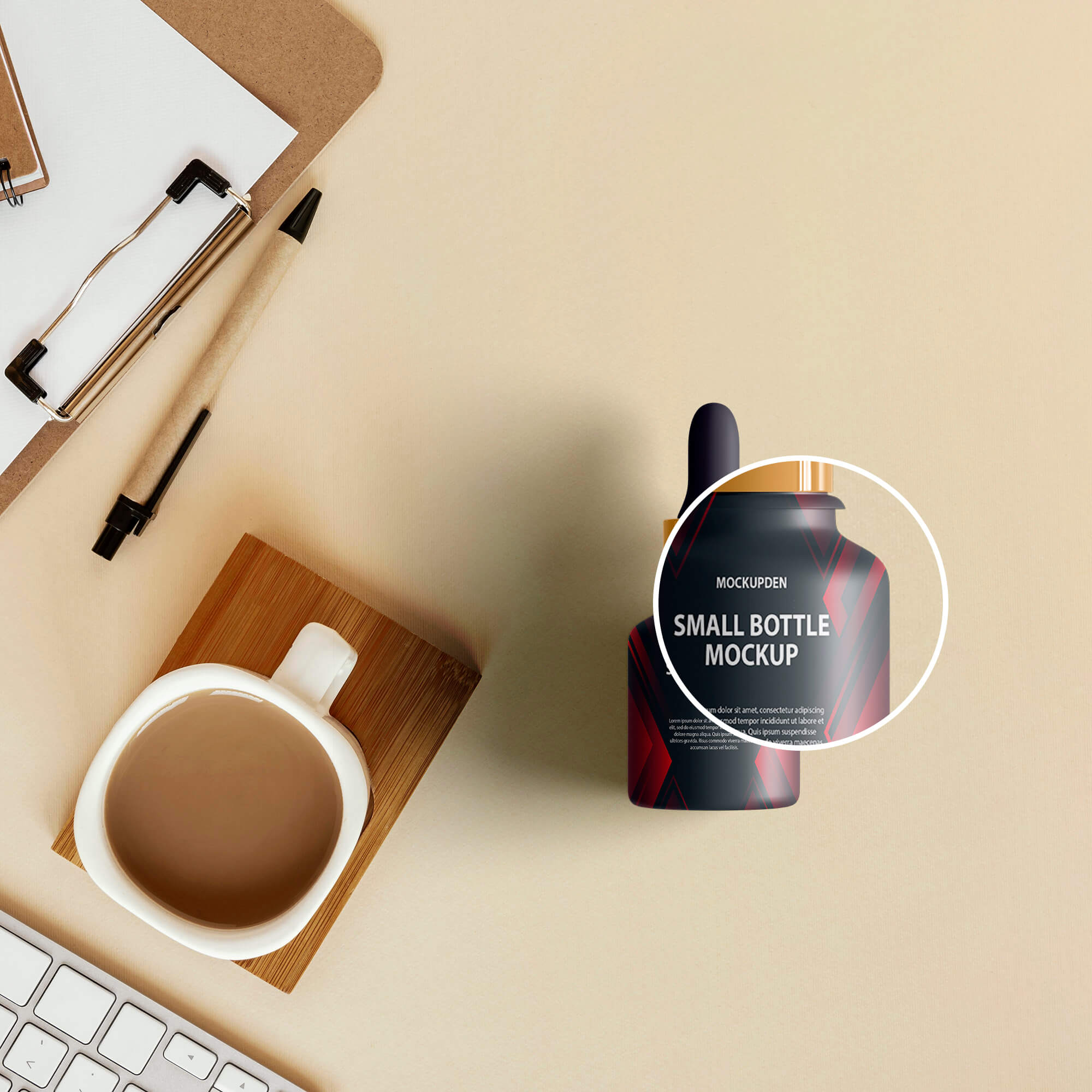 Close Up of a Free Small Bottle Mockup PSD Template (1)