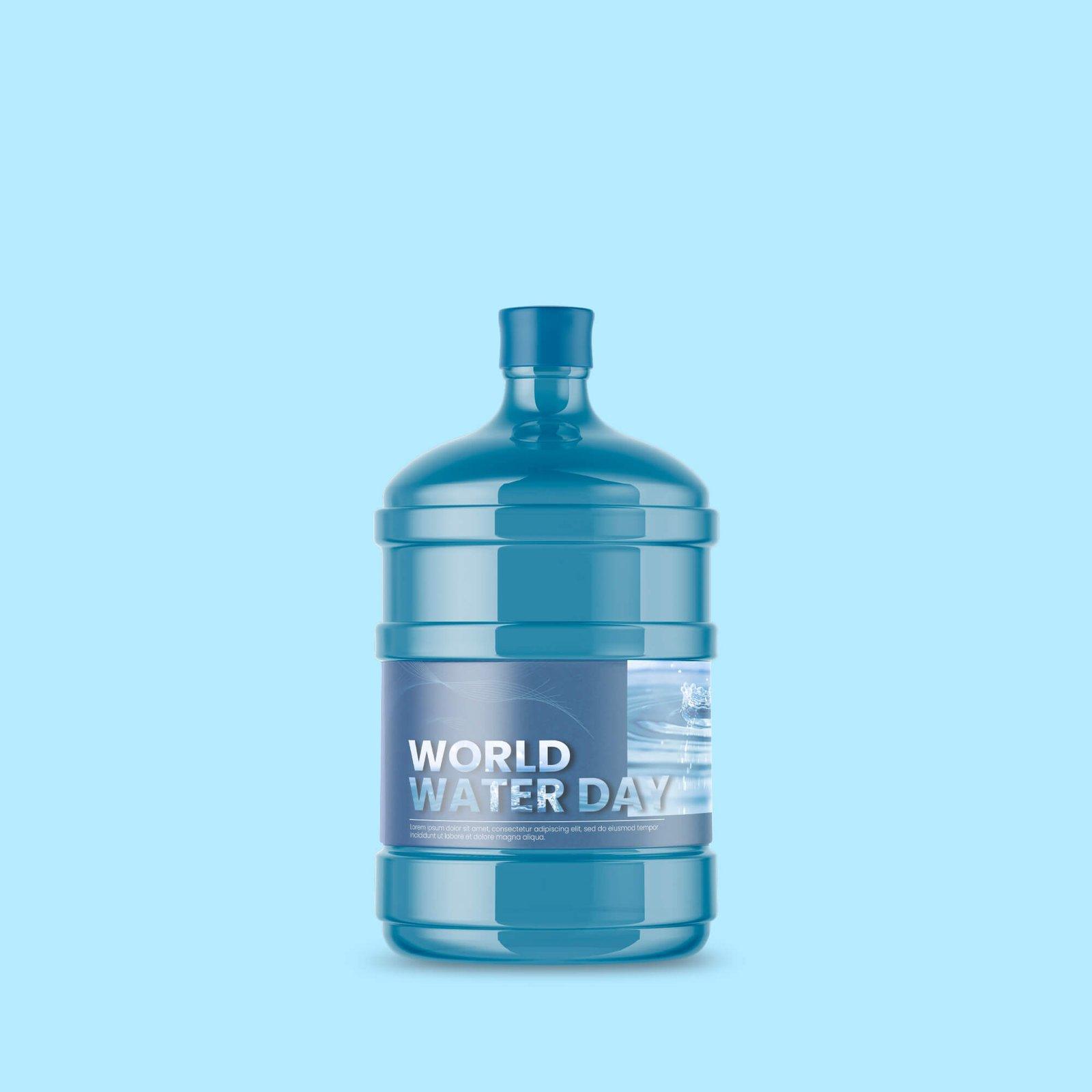 Design Free Big Bottle Of Water Mockup PSD Template