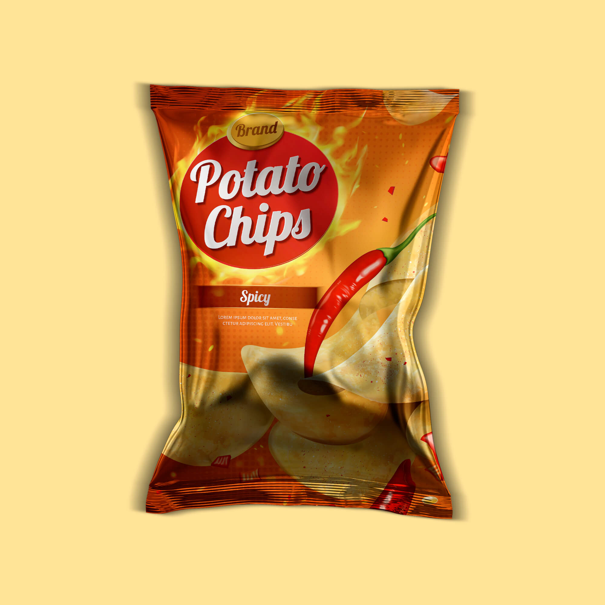 Design Free Chips Packaging Mockup PSD Template
