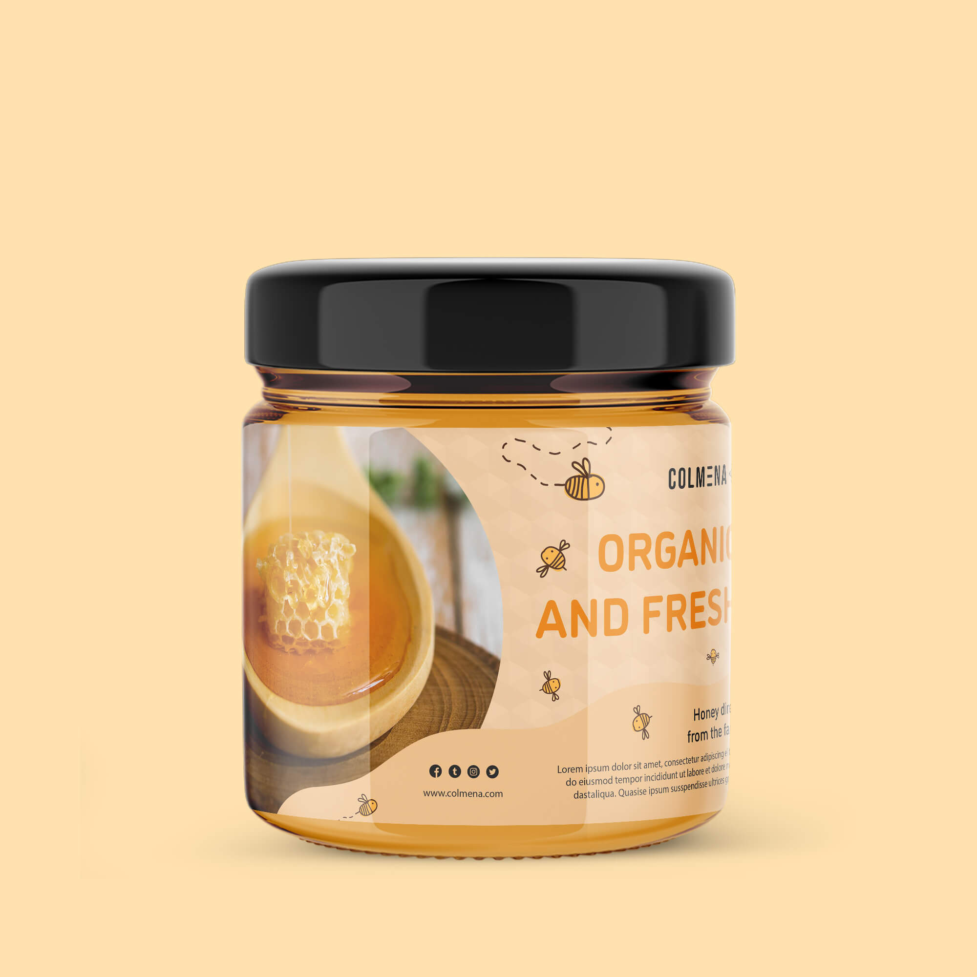Design Free Honey Packaging Mockup PSD Template