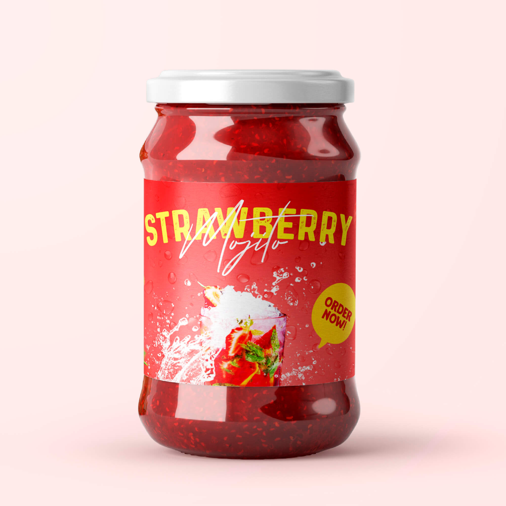 Design Free Jam Bottle Mockup PSD Template