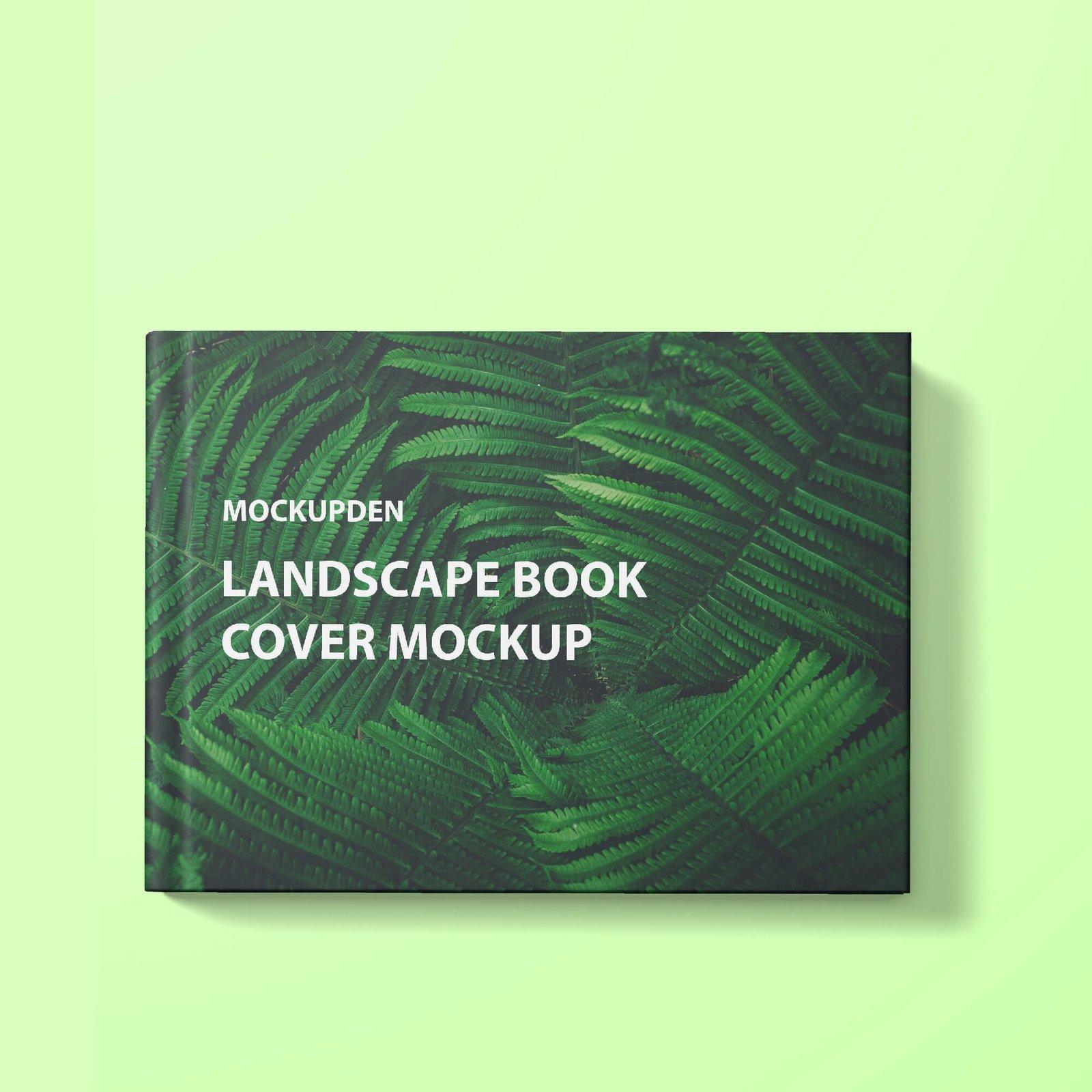 Design Free Landscape Book Cover Mockup PSD Template