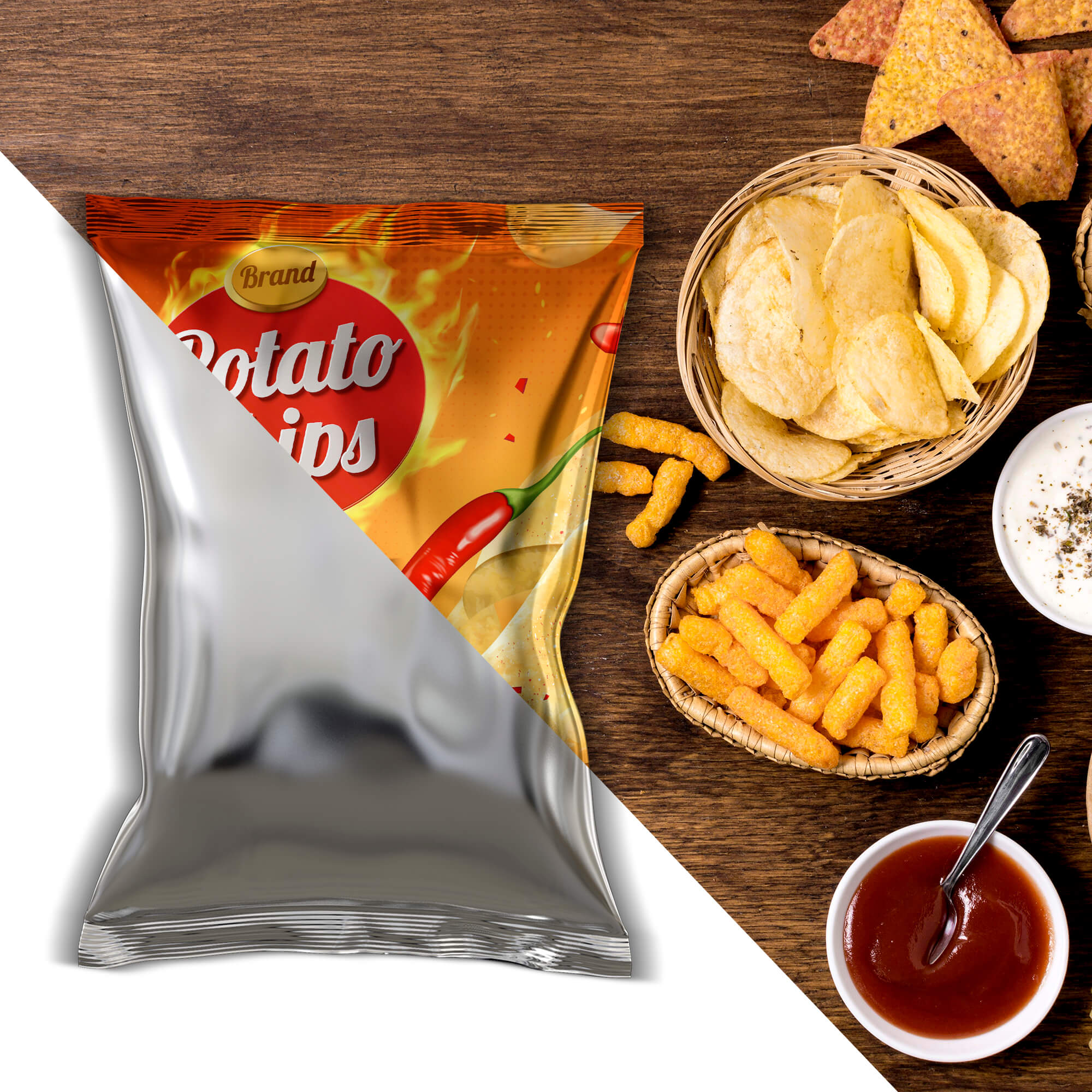 Editable Free Chips Packaging Mockup PSD Template