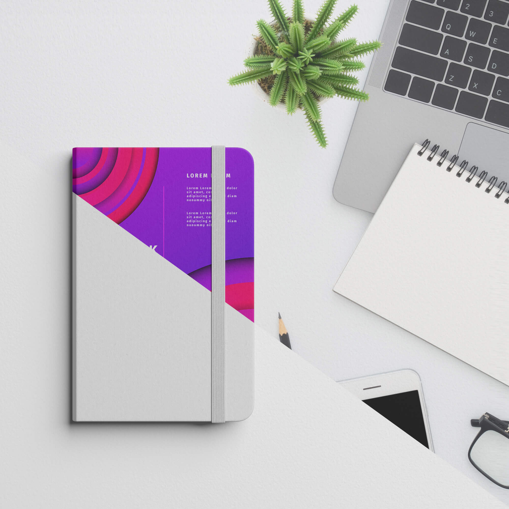 Editable Free Notebook Cover Mockup PSD Template