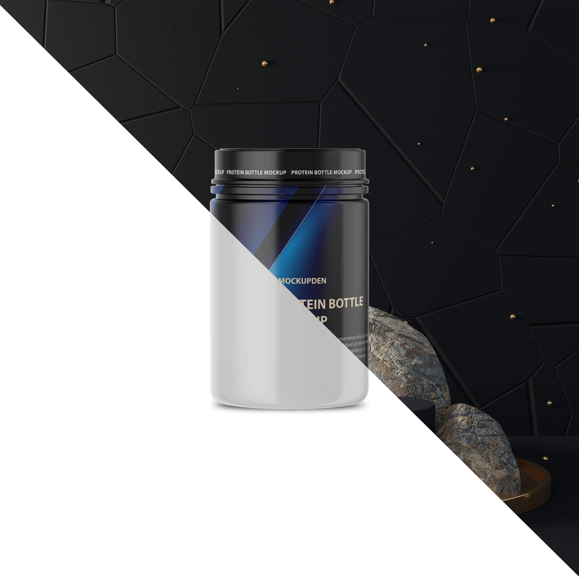 Editable Free Protein Bottle Mockup PSD Template
