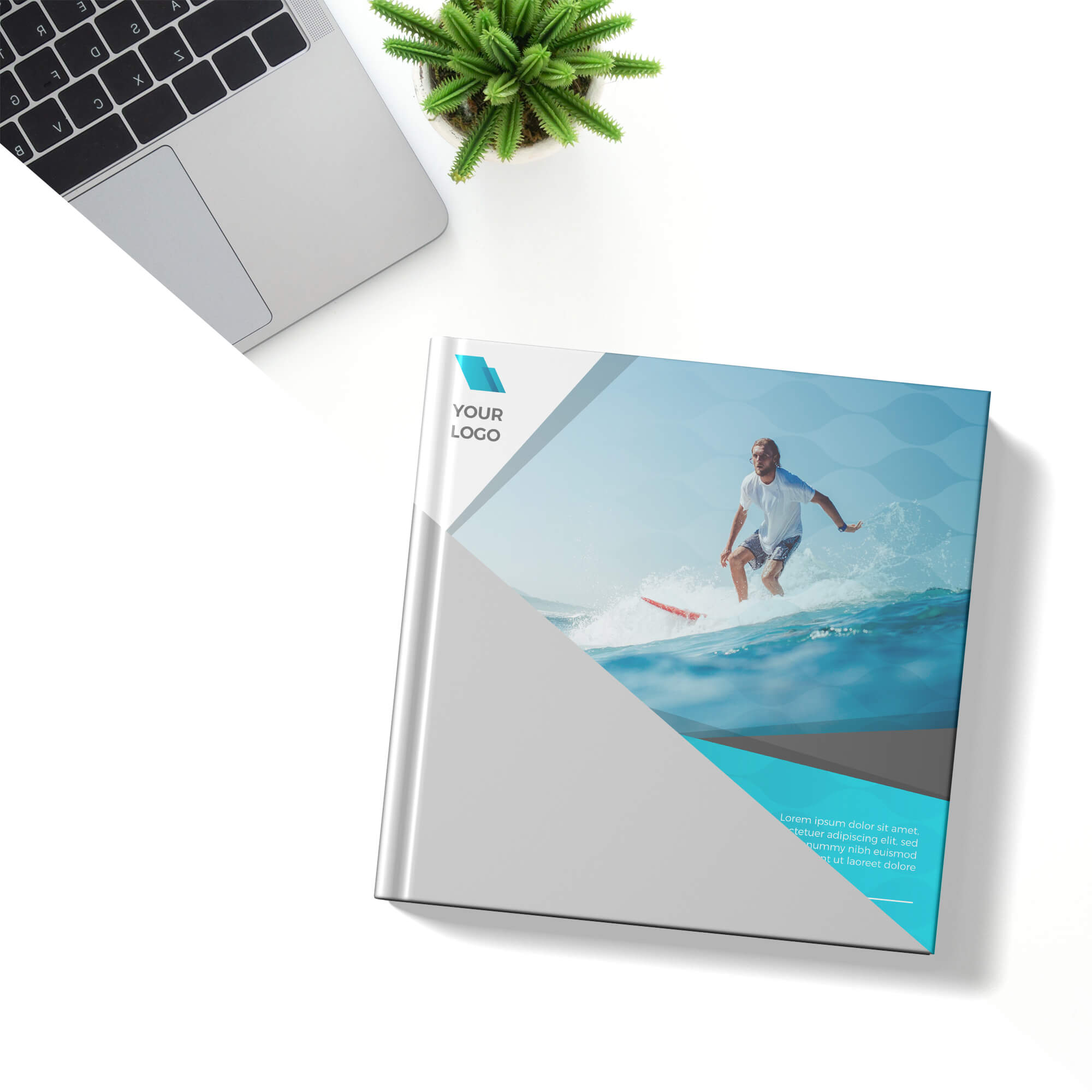 Editable Square Book Cover Mockup Free PSD Template