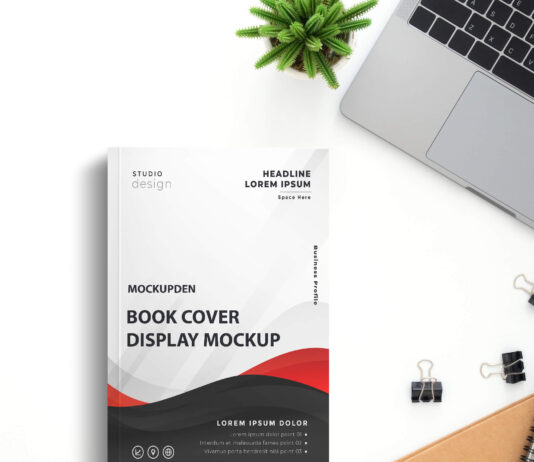 Free Book Cover Display Mockup PSD Template