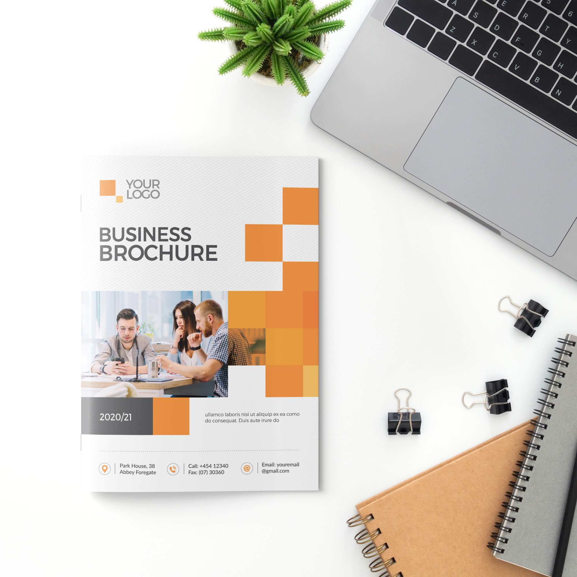 Free Brochure Cover Mockup PSD Template