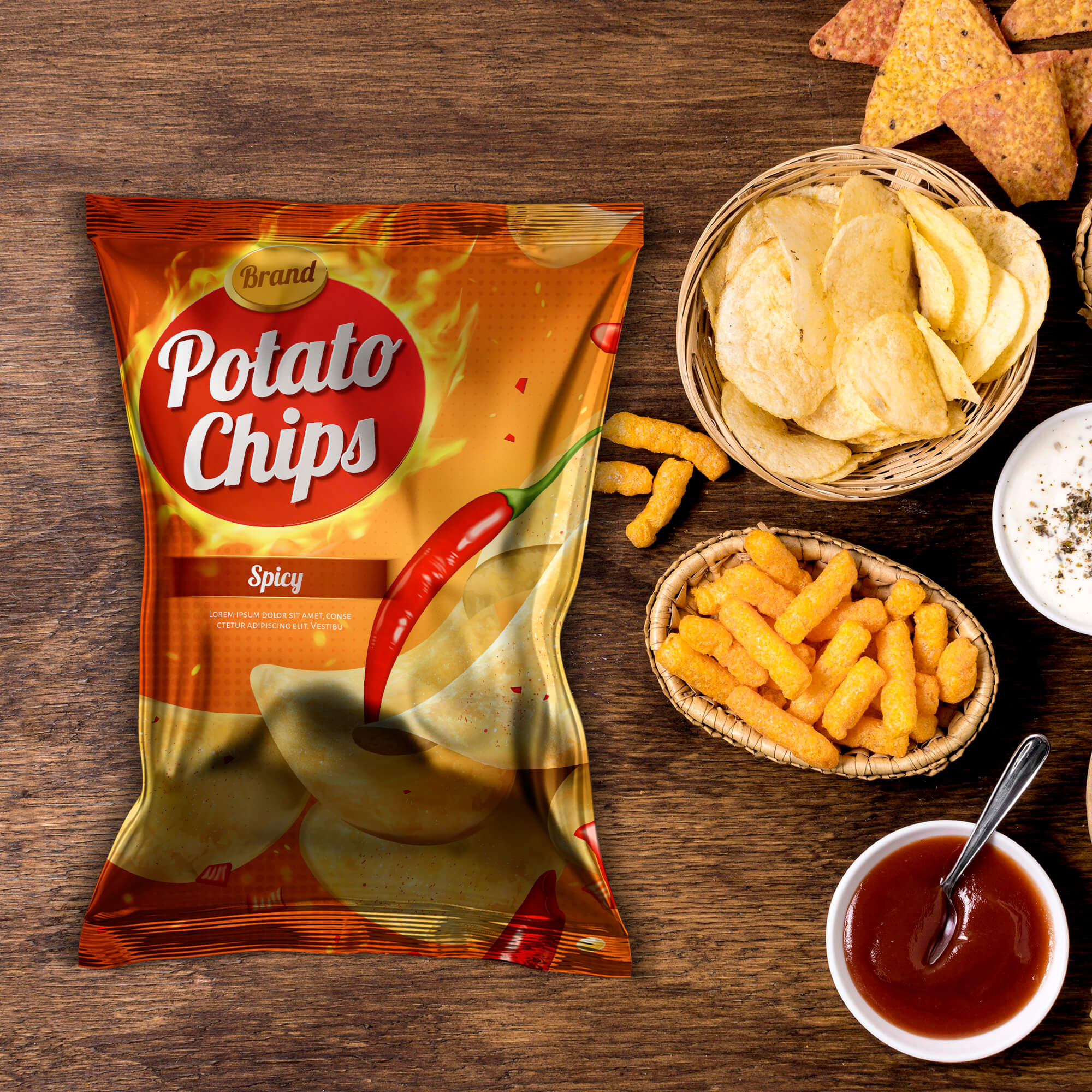 Free Chips Packaging Mockup PSD Template