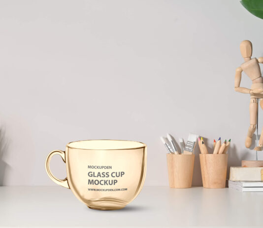 Free Glass Cup Mockup PSD Template