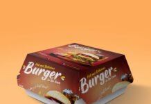 Free Hamburger Box Mockup PSD Template