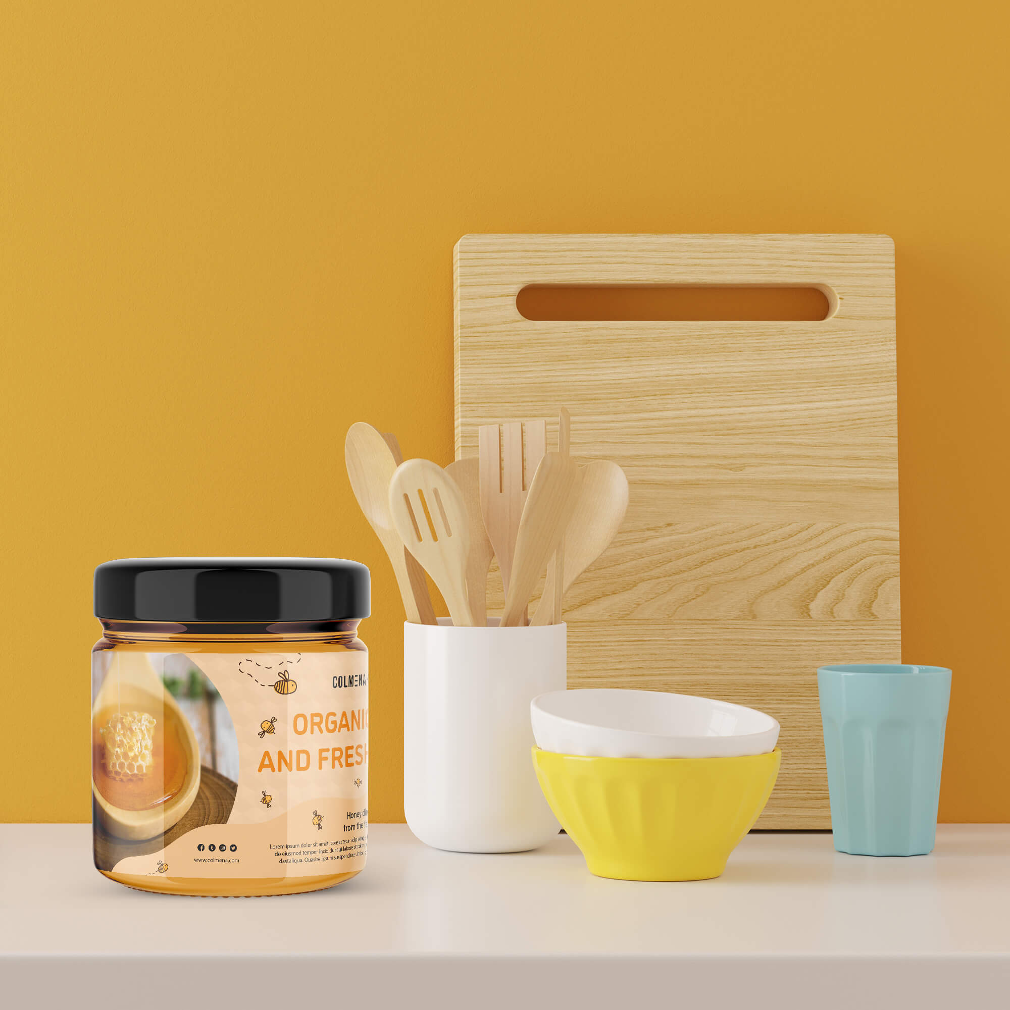 Free Honey Packaging Mockup PSD Template
