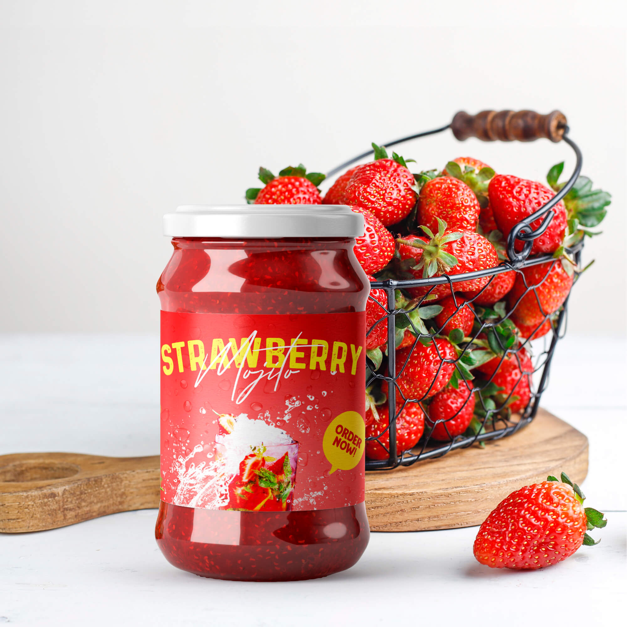 Free Jam Bottle Mockup PSD Template