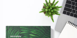 Free Landscape Book Cover Mockup PSD Template