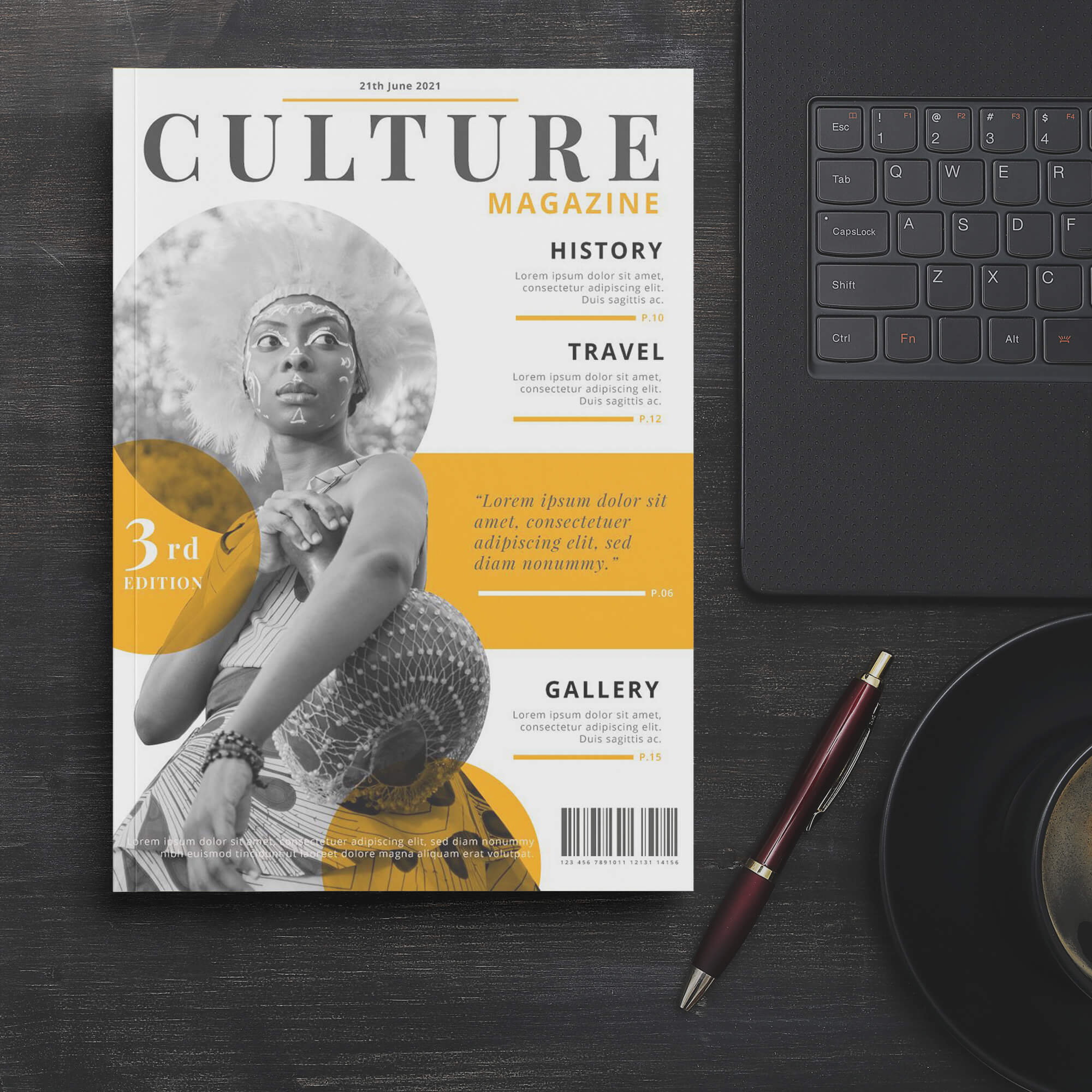 Free Magazine Cover Mockup PSD Template