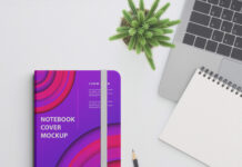 Free Notebook Cover Mockup PSD Template