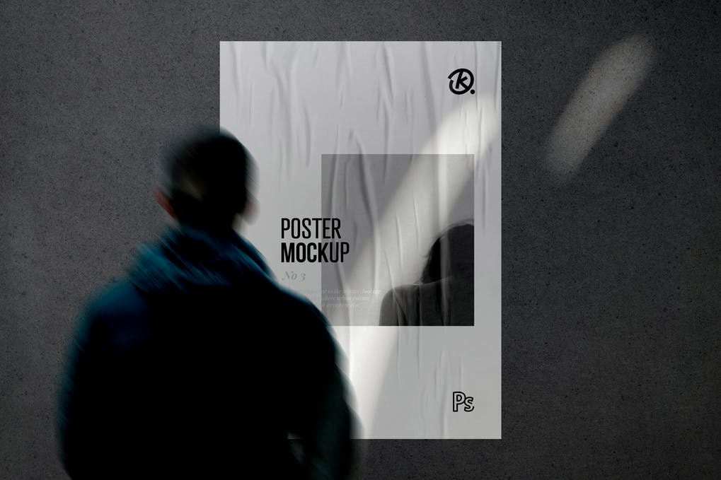 Glued Poster Mockup with Shadow Overlay