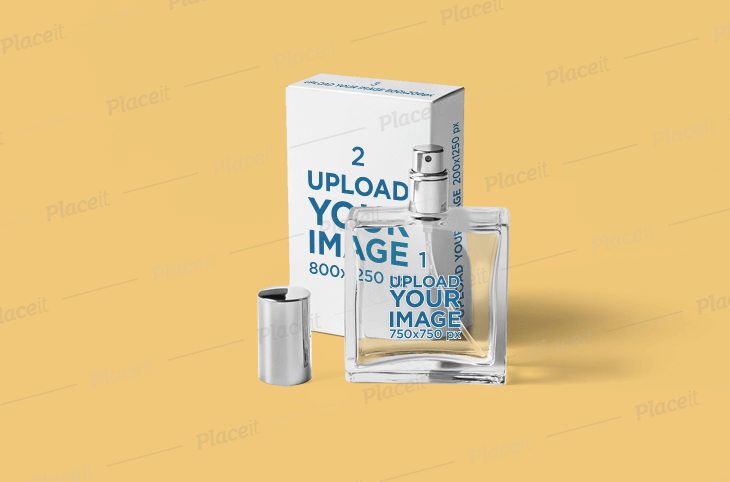Minimal Packaging Mockup Featuring a Perfume Bottle and Its Box