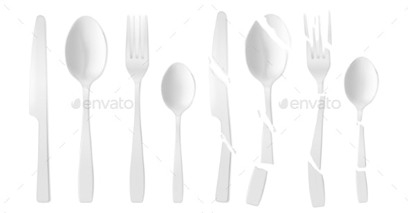 New and Broken White Plastic Cutlery