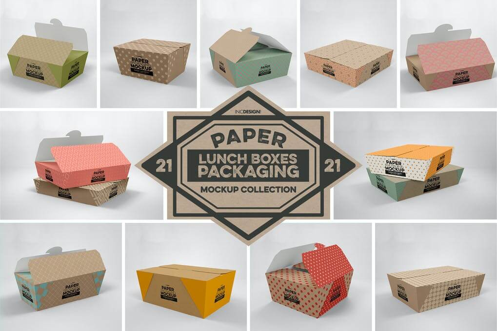 Paper Lunch Boxes Packaging Mockups