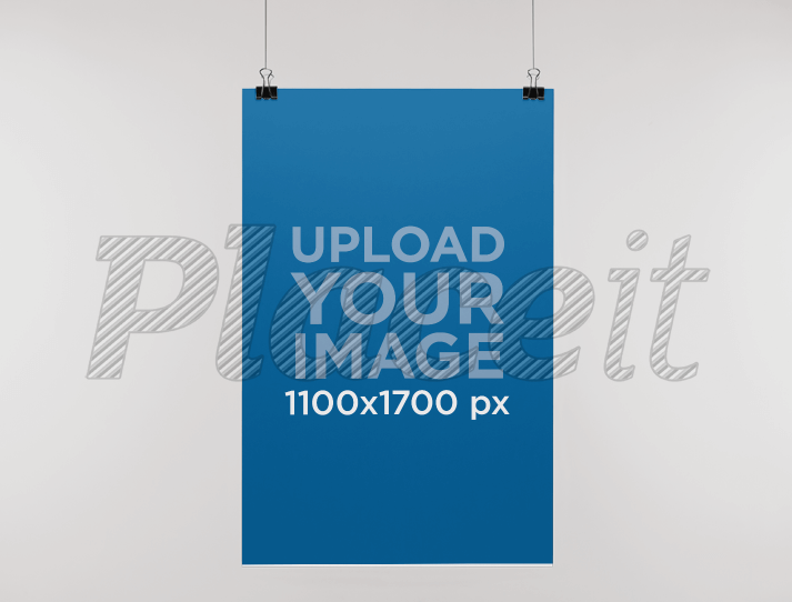 Paper Poster Mockup Hanging From a Wall