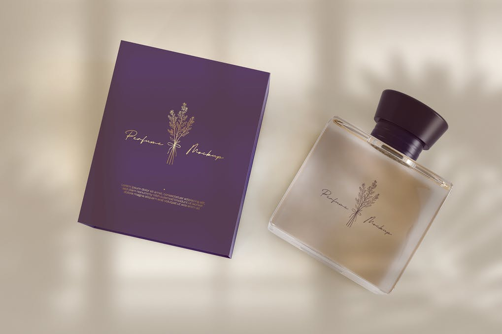 Perfume with Packaging Mockup