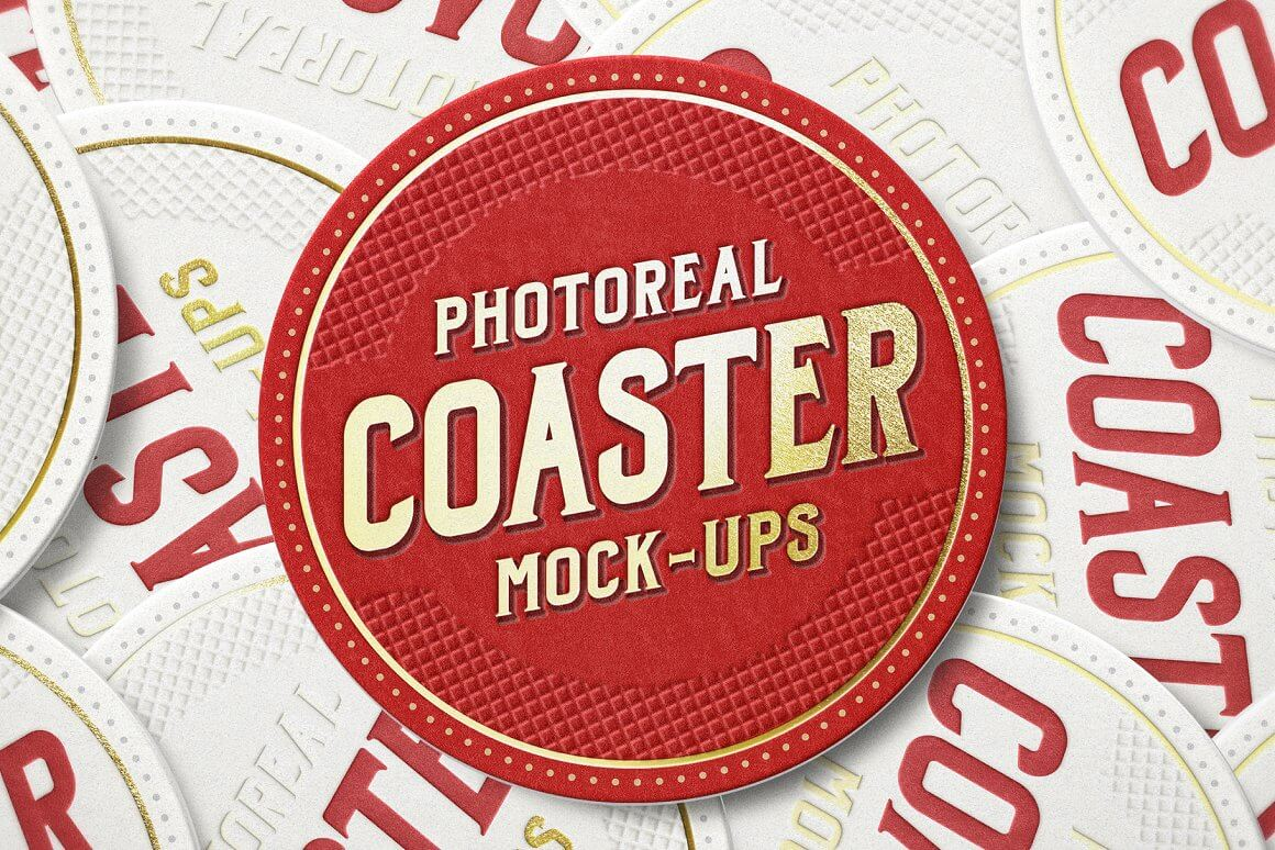 Photoreal Coaster Mockup Bundle Logo